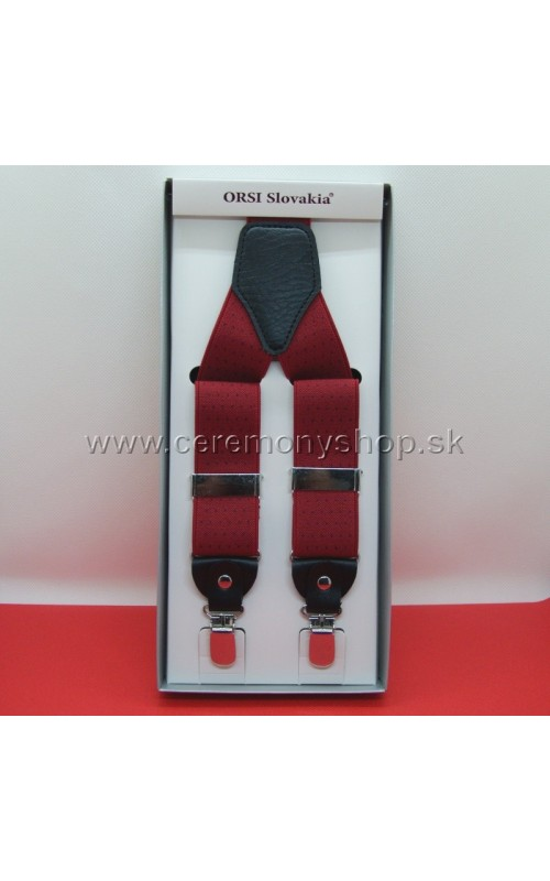 Traky červené s modrýmii bodkami ORSI 3,5 cm