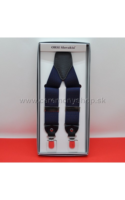 Traky modré s čerenými bodkami ORSI 3,5 cm
